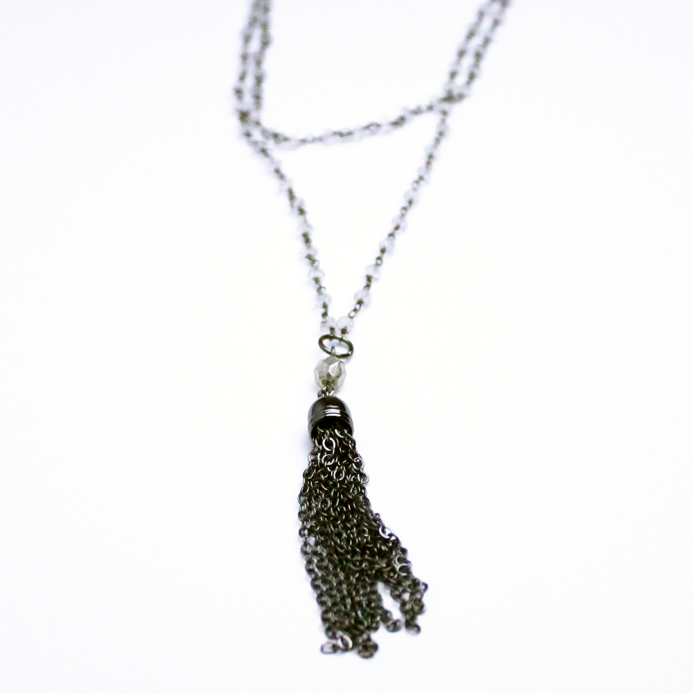 Beaded Chain Tassle Necklace