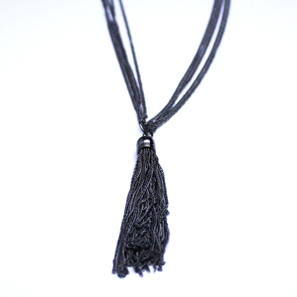 Charcoal Liquid Metal Tassle Necklace
