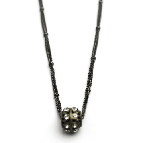 Crystal Studded Bead on Gunmetal chain
