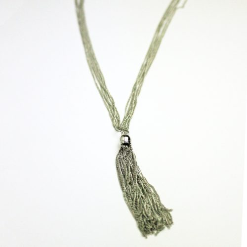 Silver Liquid Metal Tassle Necklace