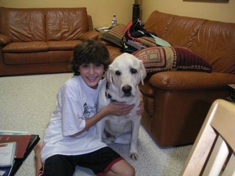Michael at 13 years old with our dog, Elgin