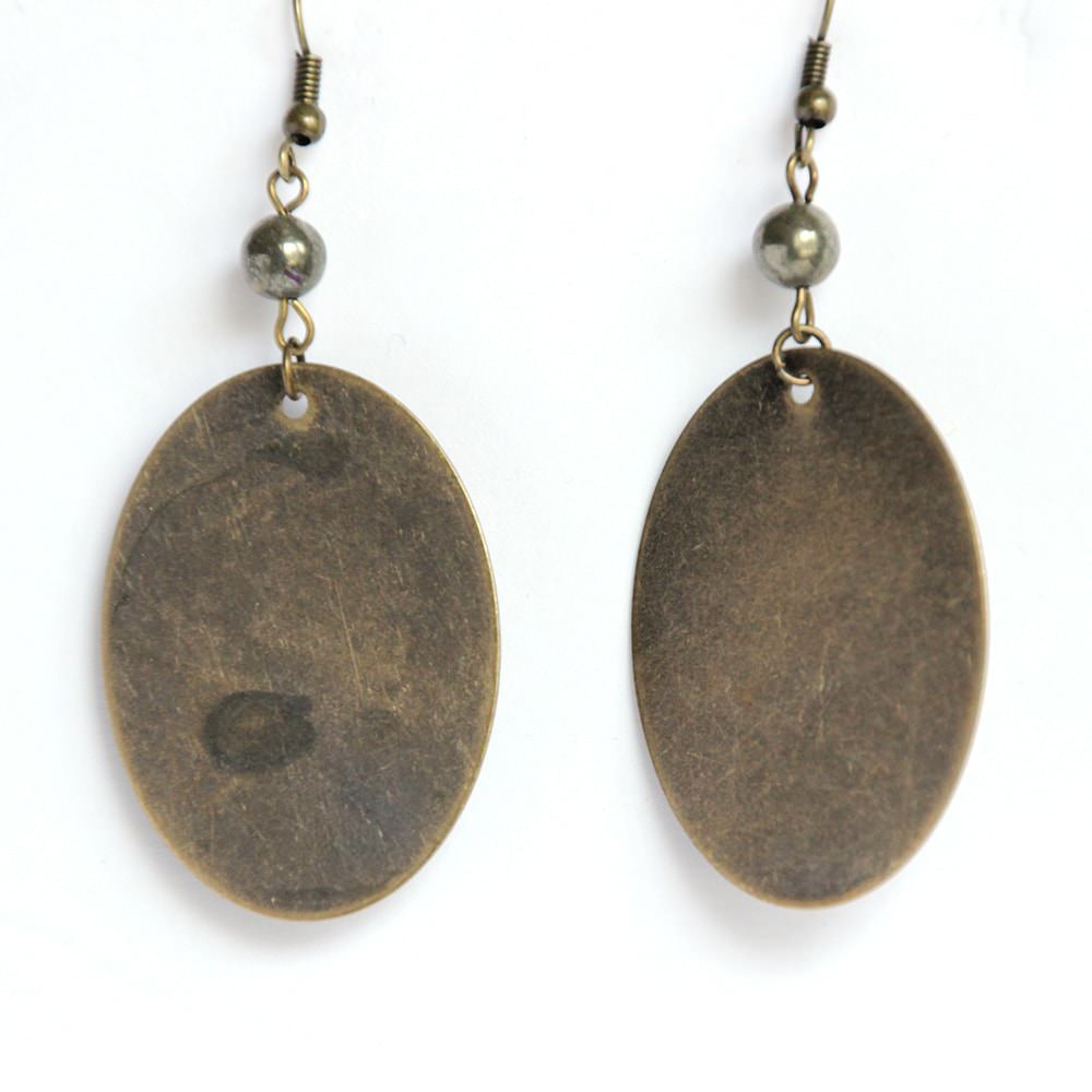 oblong bronze disc dangle earrings