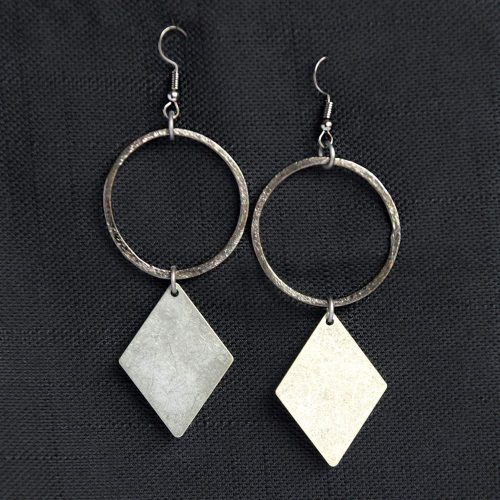 oxidized silver hoop diamond shape gunmetal dangle earrings