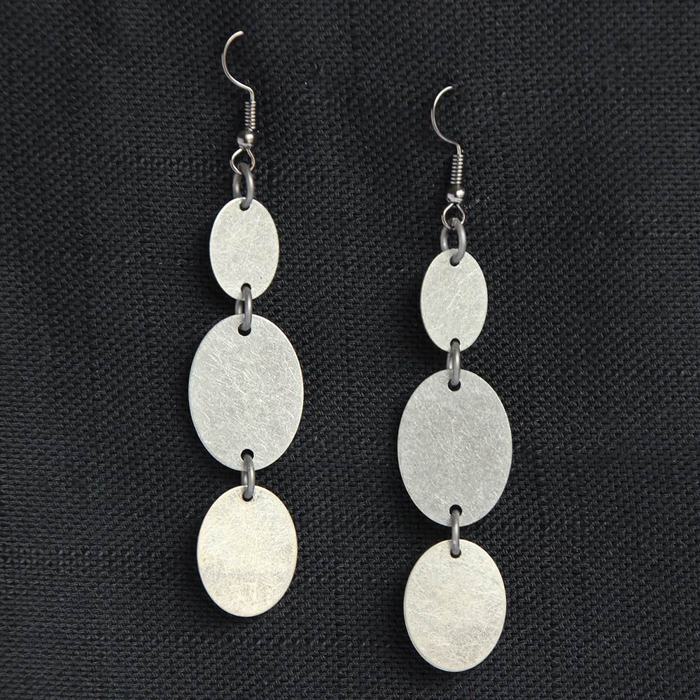 oxidized triple oval dangle earrings