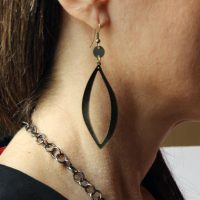 oxidized wavy hoop dangle with metal disc earrings