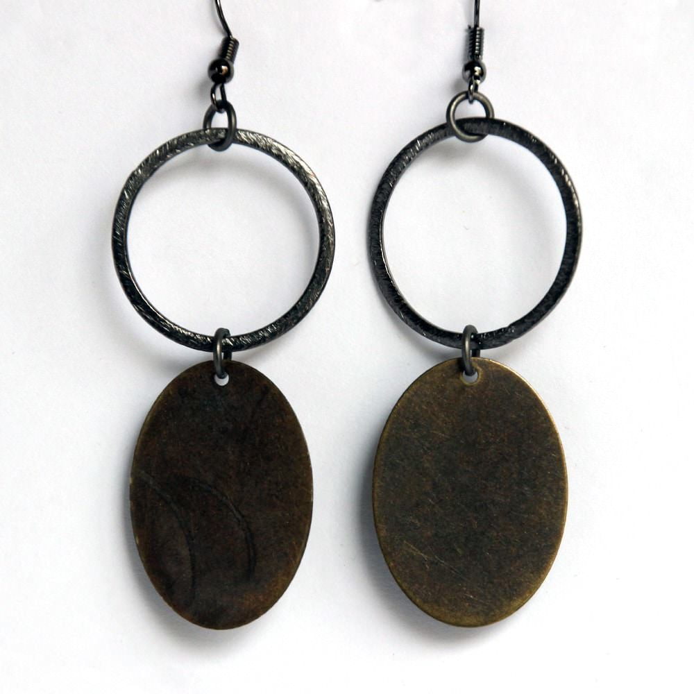 silver hoop with bronze oval dangle gunmetal earrings