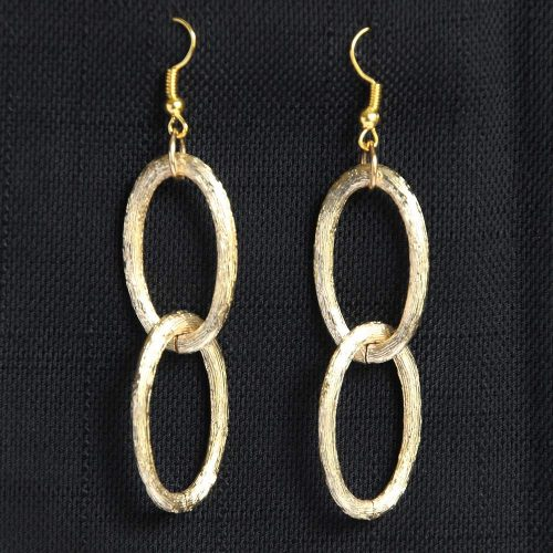 textured double oval hoop in matte gold finish earrings