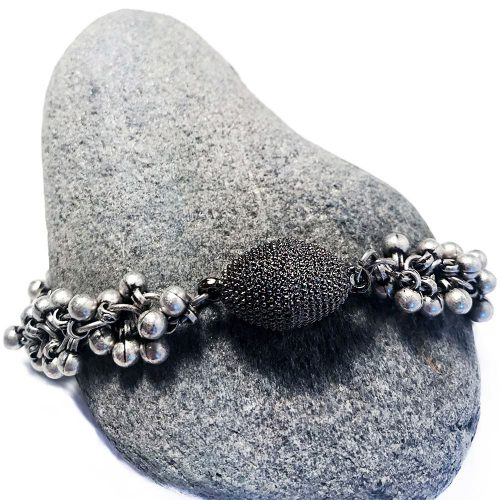 Matte Silver Multi Ball Gunmetal Bracelet with Pave Magnetic Clasp