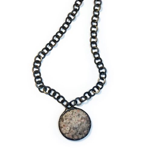 Hand Soldered Gray and Pink Jasper Necklace on Oxidized Gunmetal Chain