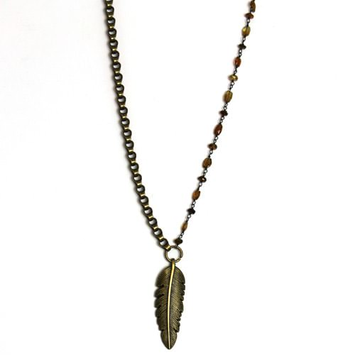 Bronze Feather on Czech Bead