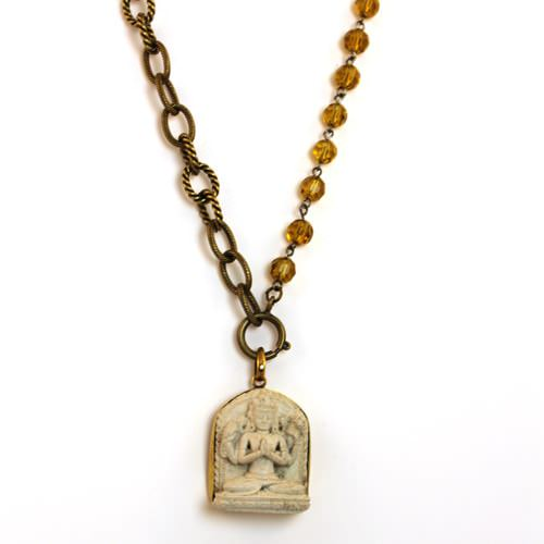 Buddha on Amber Quartz Necklace