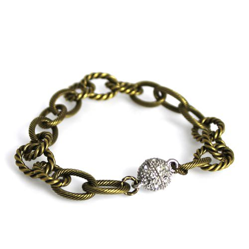 Textured Bronze Chain Bracelet