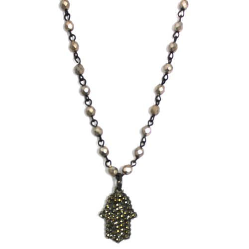 Crystal Studded Hamsa Necklace