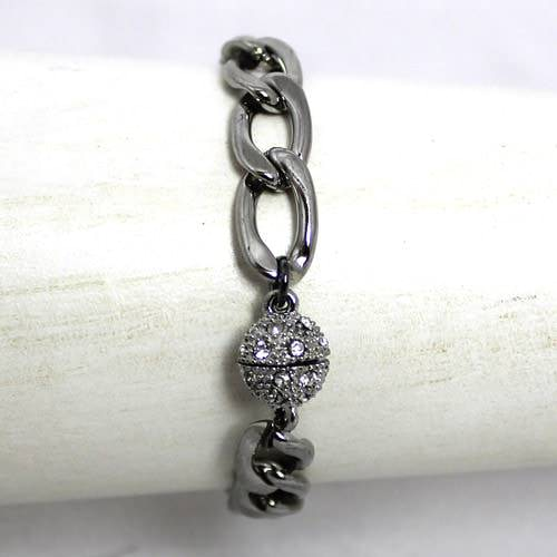 Large Flat Chain Silver Toned Bracelet