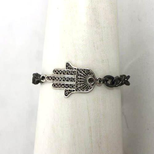Silver Toned Hamsa Bracelet