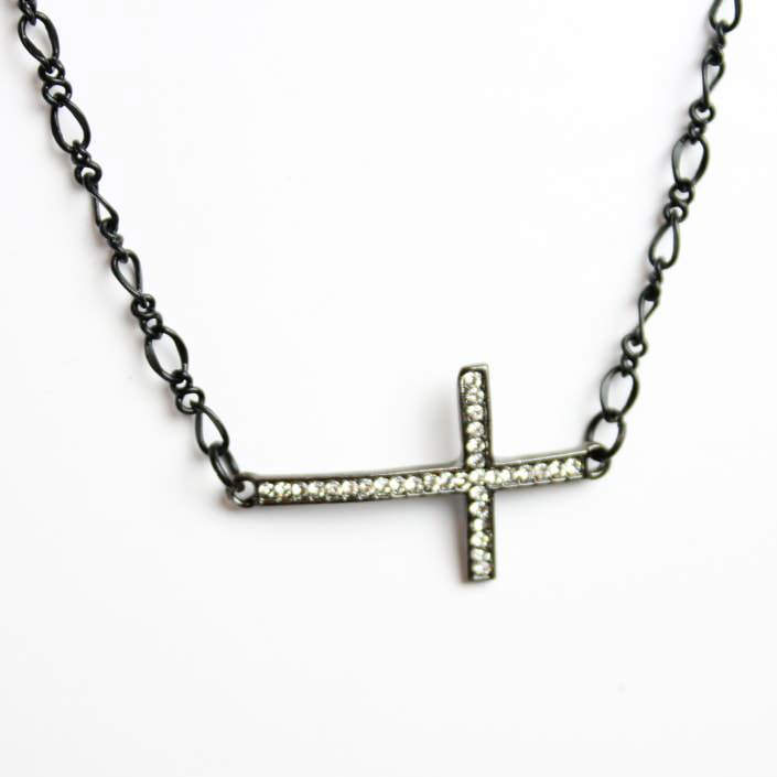 Sideways Crystal Cross Necklace