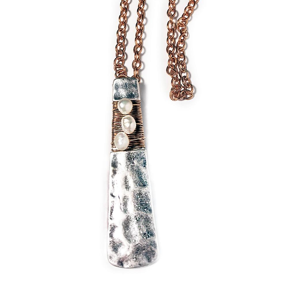 Hammered Silver and Flat Angular Pendant with Copper Wrap on Copper Chain Necklace closeup
