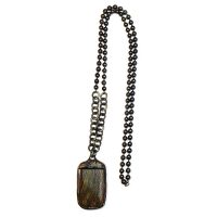 Hand Soldered Tiger Eye Necklace on Oxidized Gunmetal and Bronze Ball Chain