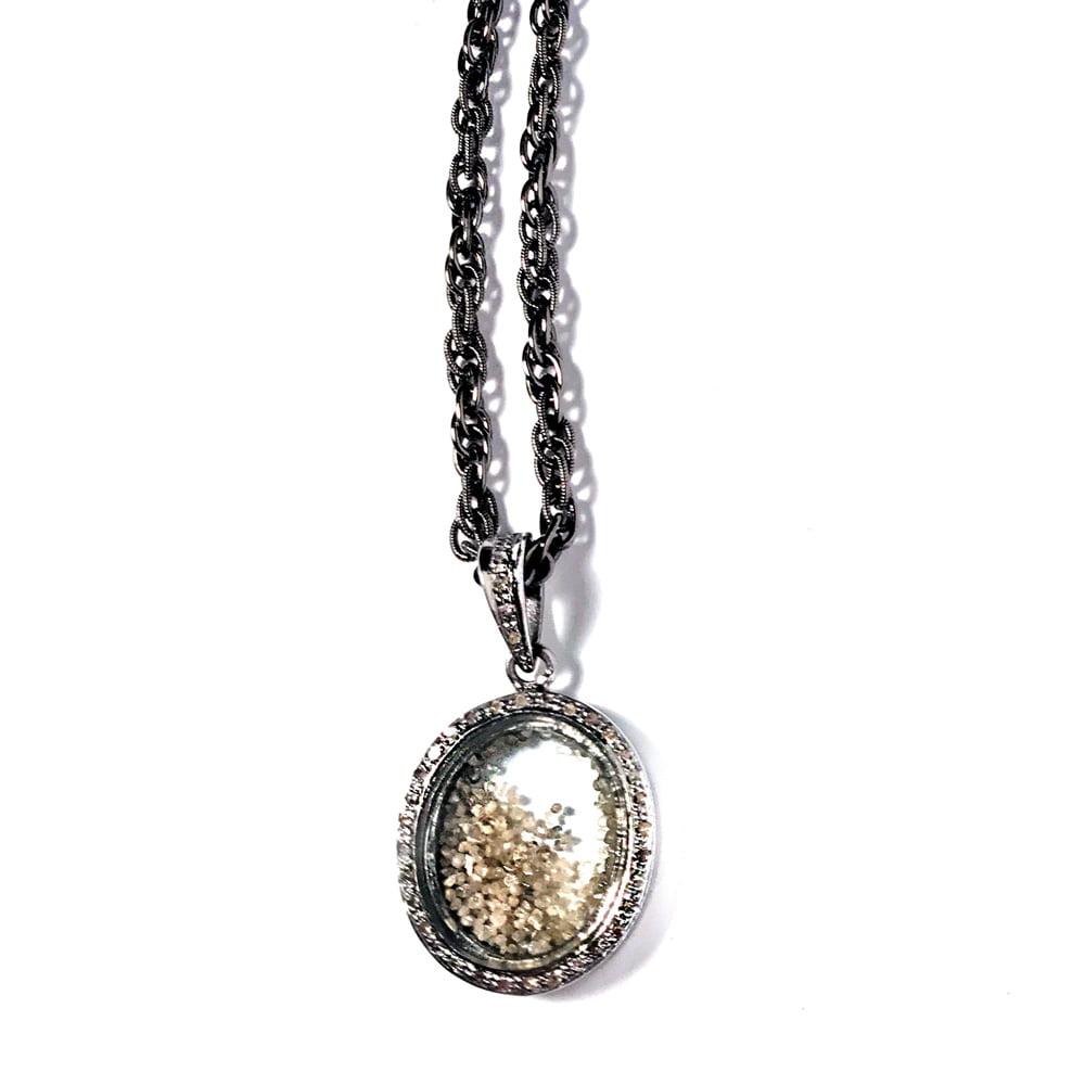 Pave Diamond Oval Locket with Diamond Dust Pendant Necklace on Adjustable Gunmetal Chain closeup