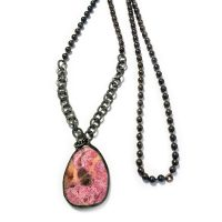 Pink Agate Geometric Pendant Necklace from India
