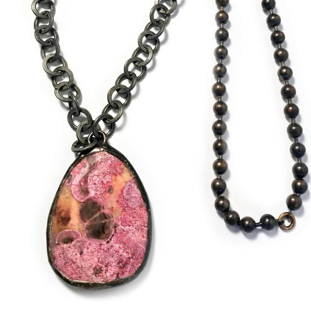 Pink Agate Geometric Pendant Necklace from India Closeup - closeup