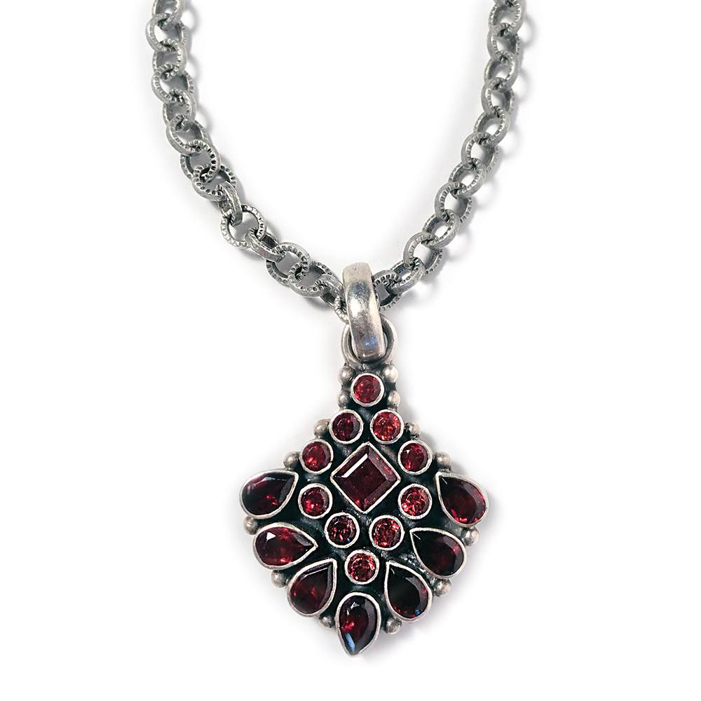Red Garnet Indian Pendant Necklace closeup