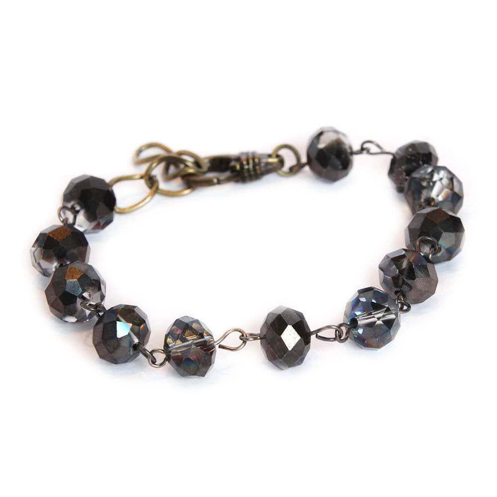 Smokey Czech Brown Glass beaded Bracelet with Adjustable Lobster Clasp 6667