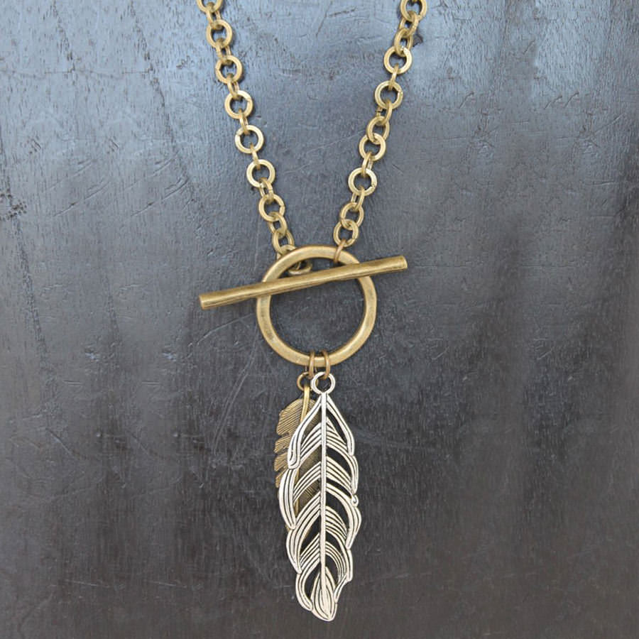 Double Feather Necklace