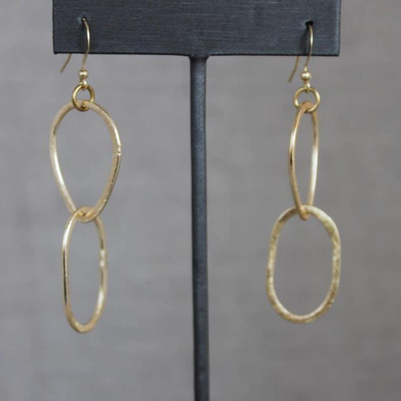 Gold Tone Double Hooped Earrings