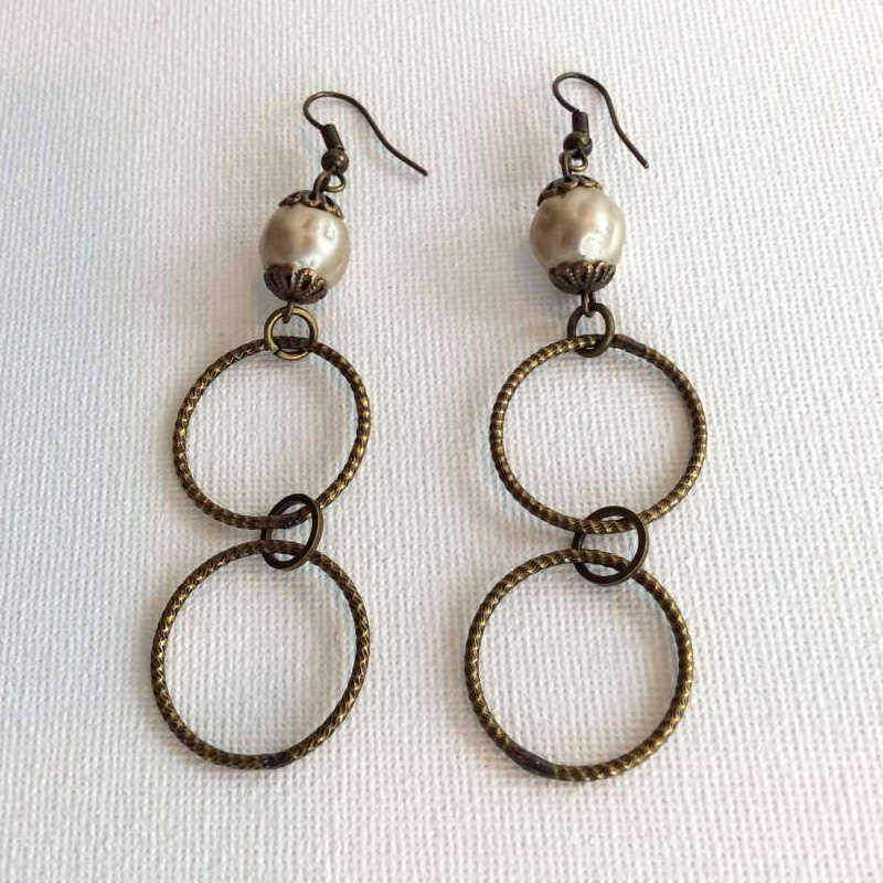 Double Bronze Hoop with Glass Pearl