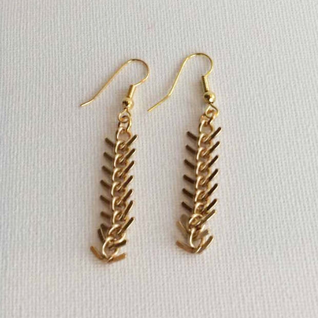 Gold Tone Fishtail Earrings