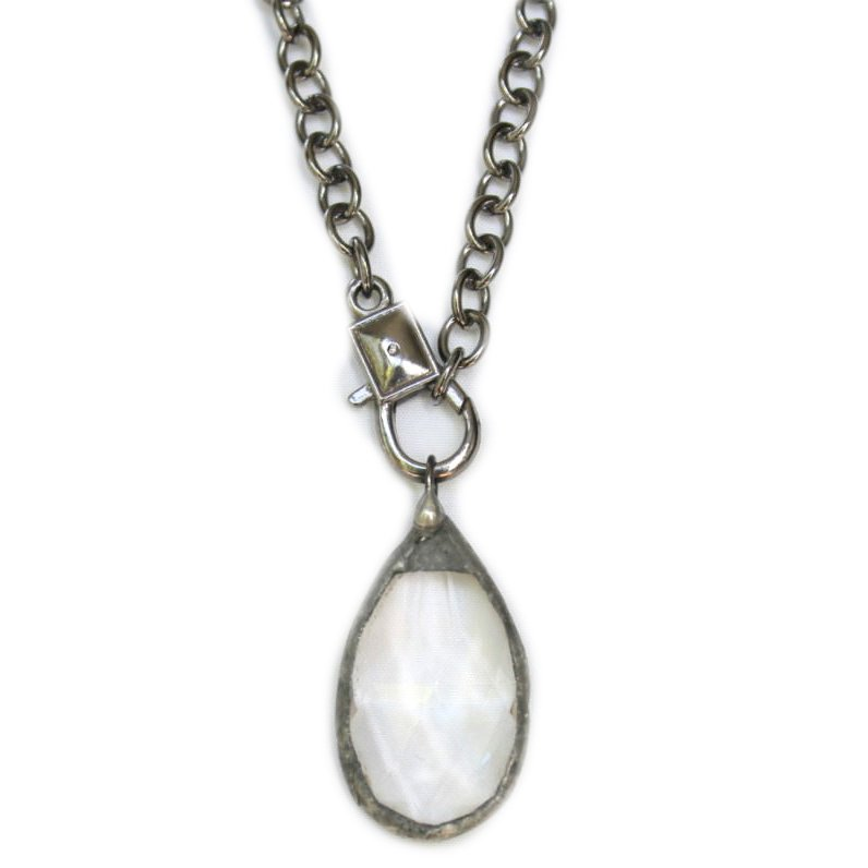 Teardrop Crystal Prism Pendant Necklace on Adjustable Silver Chain
