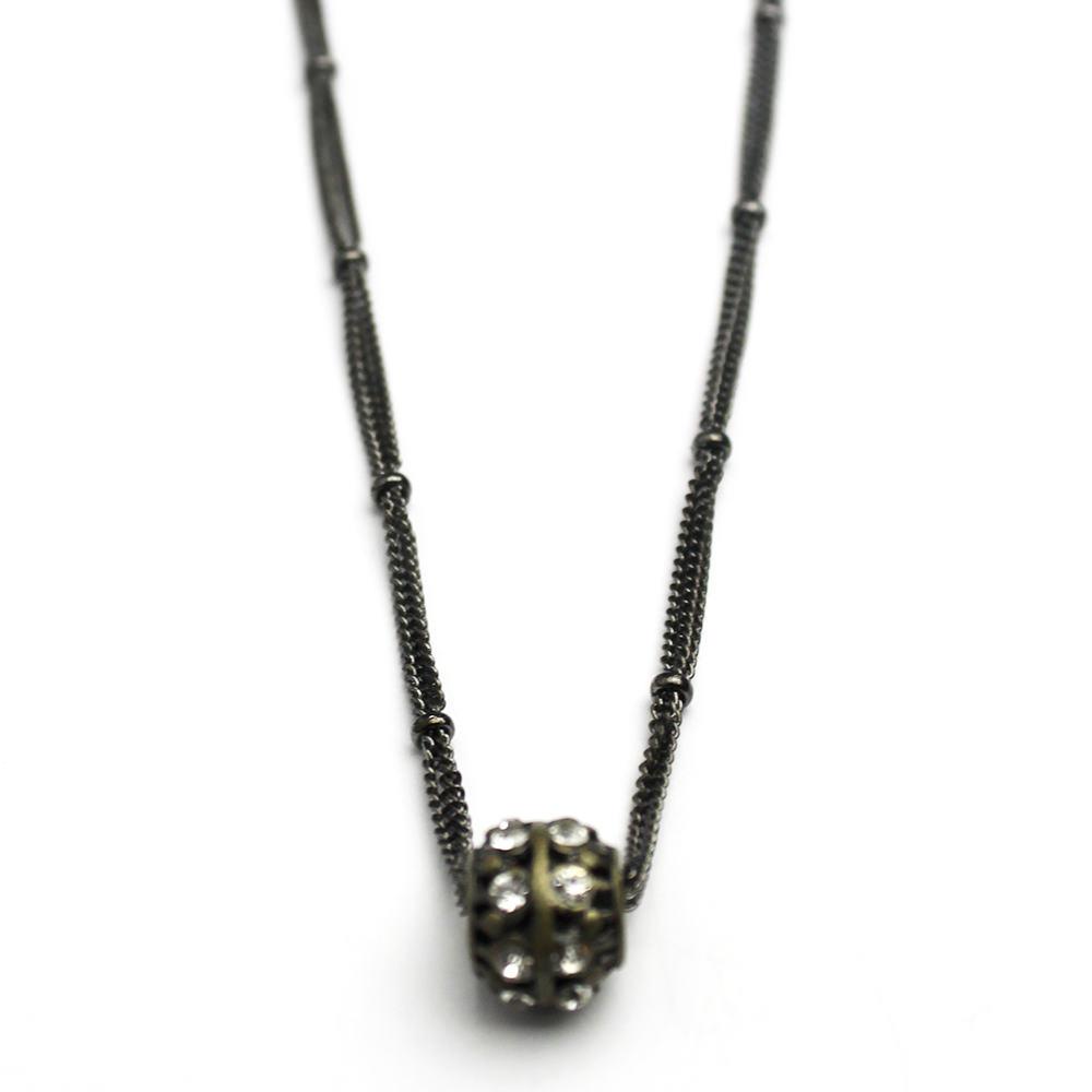 Crystal Studded Bead on Gunmetal chain