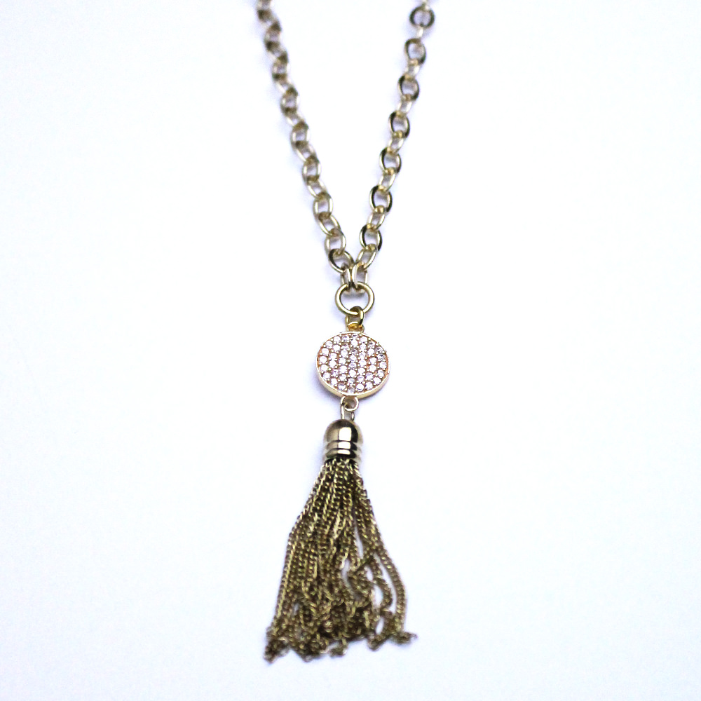Small Gold-Tone Pave Disk with Tassle