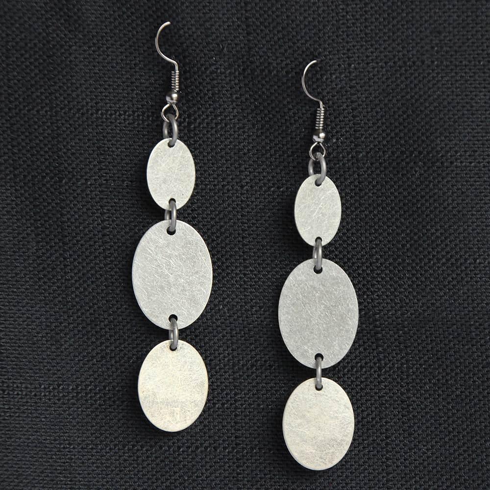 oxidized triple oval dangle earrings