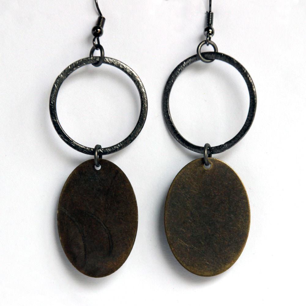 silver hoop with bronze oval dangle gunmetal earrings