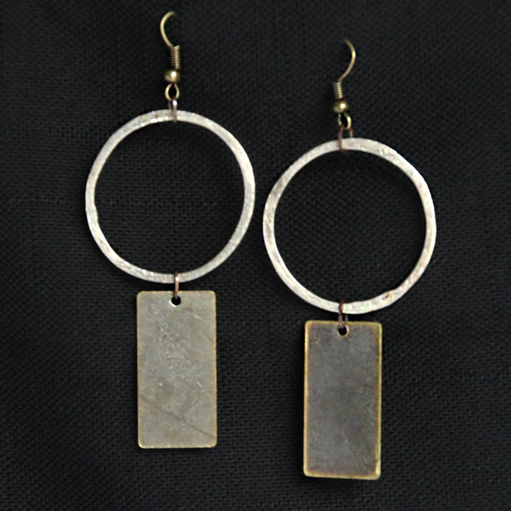 silver hoop with bronze rectangle dangle gunmetal earrings